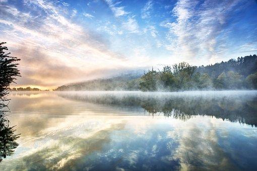 湖, 霧, 水, 自然, 風景, 気分, 日の出, 地上の霧, ブリッジ, 無色