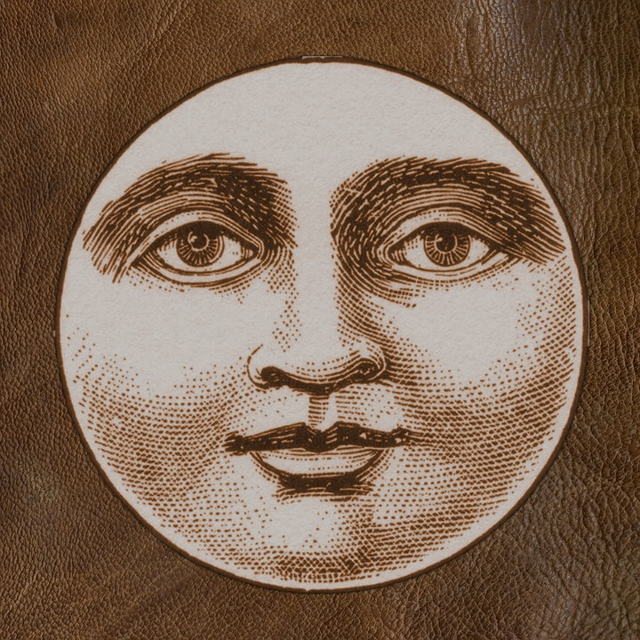 Moon Face Vintage Design Sepia Decoration Symbol