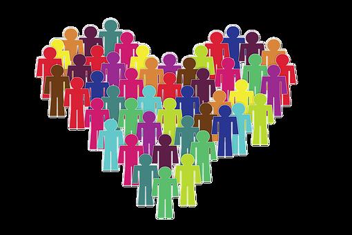 Inclusión, Grupo, Corazón, Persona