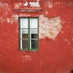 window, red, city