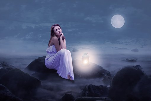 Woman, Beauty, Sit, Rock, Lantern, Light