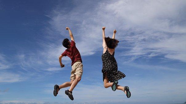 ジャンプ, 空, めでたしめでたし, 男, クラウド, 青, 高さ, 女の子