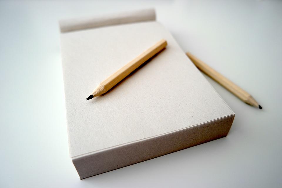 鉛筆, メモ帳, メモ, 紙, オフィス, デスク, 書き込み, 空白, ノートブック, メッセージ, パッド