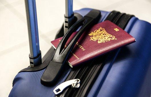 パスポート, 荷物, トロリー, 旅行, 休暇, 観光, スーツケース, 旅