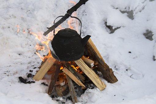 Winter, Fire, Campfire, Tea Kettles