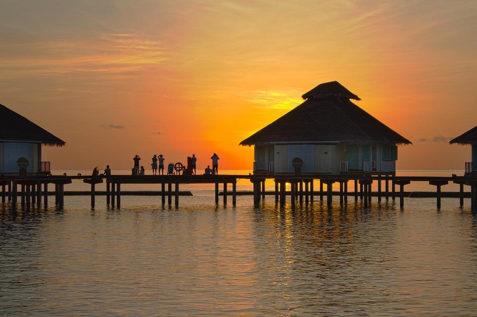 Закат, Вечер, Пейзаж, Лето, Мальдивы, Вид, Желтый