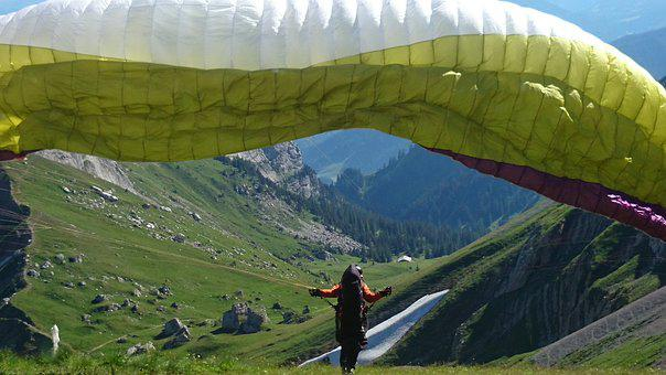 Skydiver, Start, Mountains, View