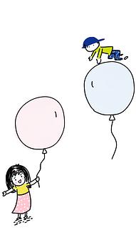 Boy And Girl, Balloons, Boy, Girl