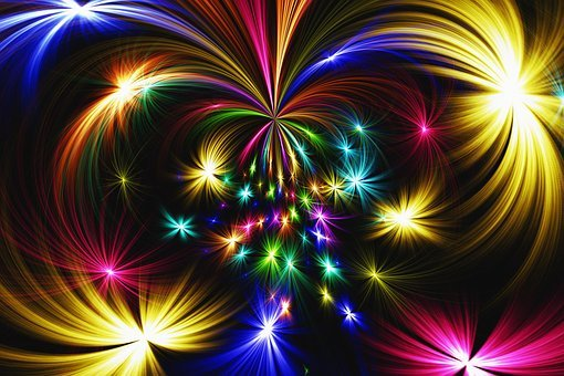 Star, Abstract, Colorful, Fireworks