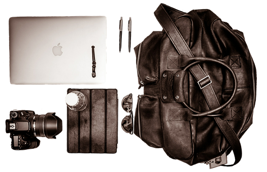 Camera, Laptop, Tablet, Pens, Equipment