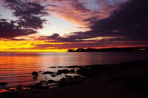 日没, ダーウィン, ノーザン ・ テリトリー, オーストラリア, ビーチ, 空
