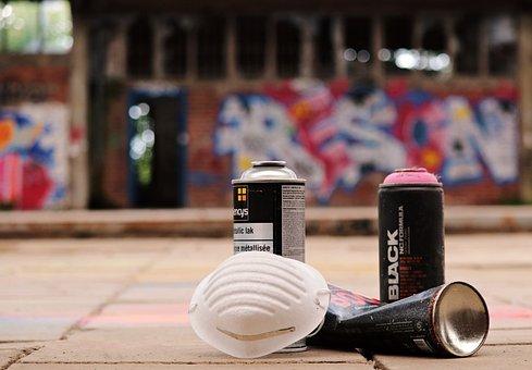 スプレー缶, 落書き, スプレーヤー, マスク, 噴霧器具, レタリング, 文字