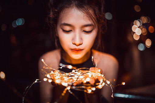 Girl, Night, Portrait, Light, Led, Woman