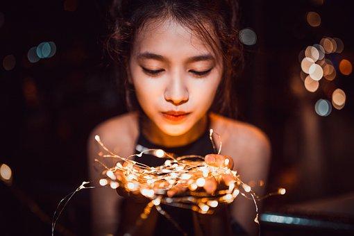Girl, Night, Portrait, Light, Led, Woman