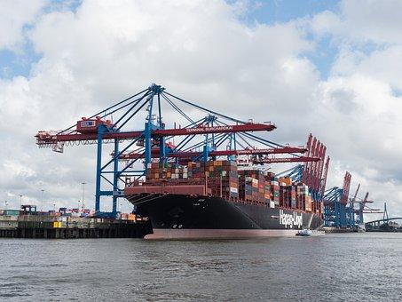Barco De Contenedores, Puerto, Hamburgo