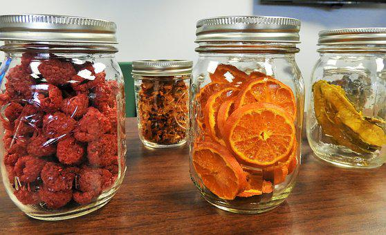 Mason Jars, Dehydrated, Fruit, Oranges