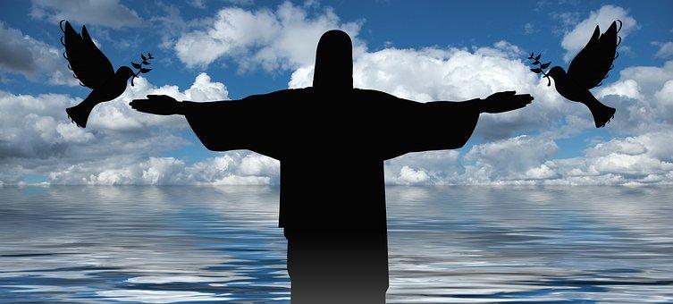 Cross, Christ, Statue, Sea, Pigeons