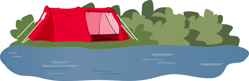 Tent, Camping, River, Bush, Grass, Dome