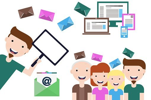 Email marketing with drawing of people, envelopes and email devices for Online awareness creation 1: Build your email list