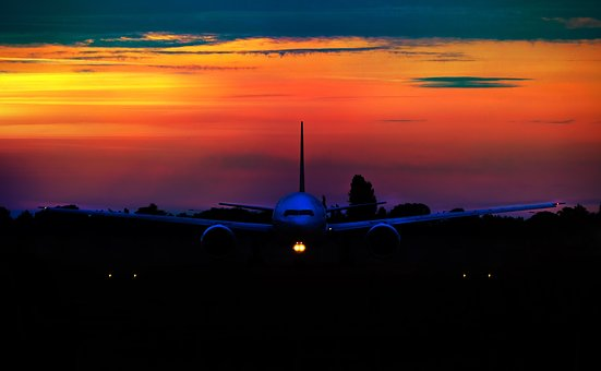 Sunset, Airline, Aircraft, Travel, Air