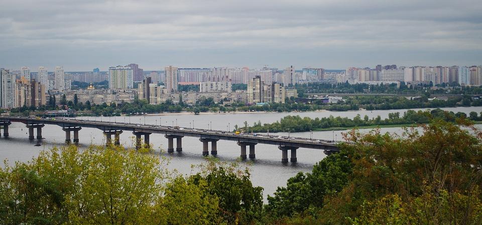 Kyjev, Ukrajina, Rieka, Most, Cestovanie