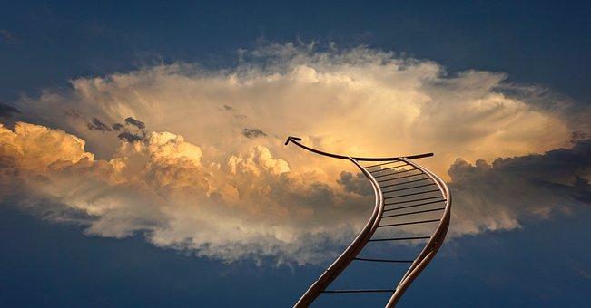 ヘッド, 超えて, 雲, 空, 縄ばしご, 神, 宗教, 光線, 輝きます, 光