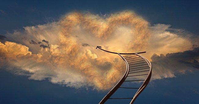 心, ヘッド, 超えて, 雲, 空, 縄ばしご, 神, 宗教, 光線, 輝きます