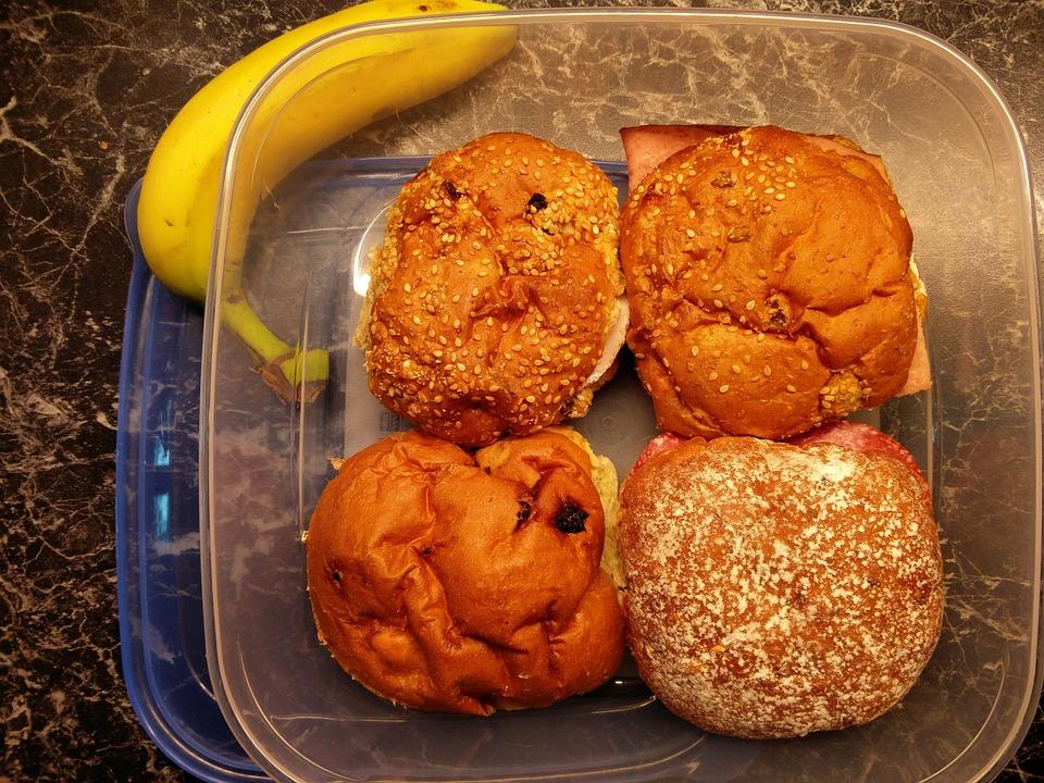 Lunchbox, Lunch, Bread, Fruit