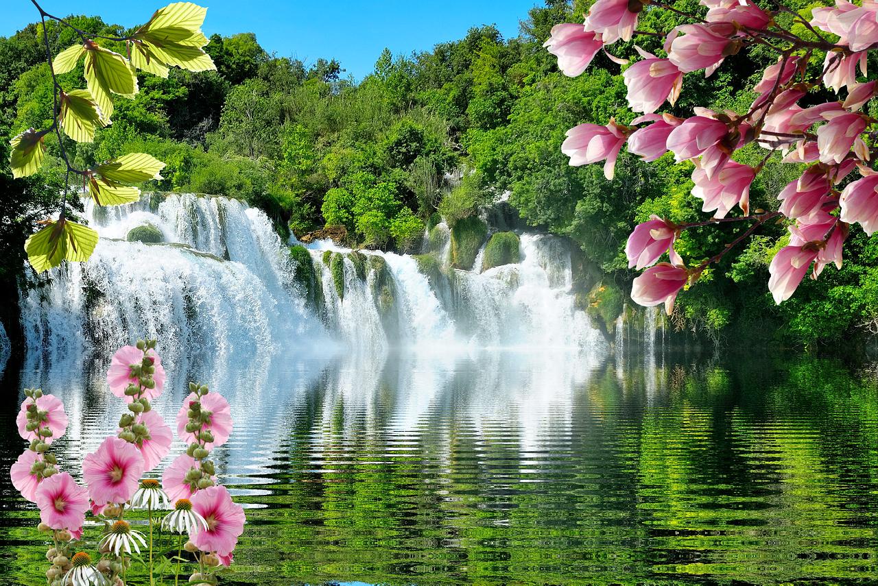 картинки весна природа водопады перспектива