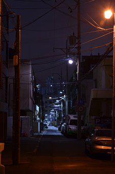 Alley, Street Lights, Home, Night