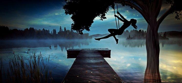 Girl, Woman, Swing, Lake, Web