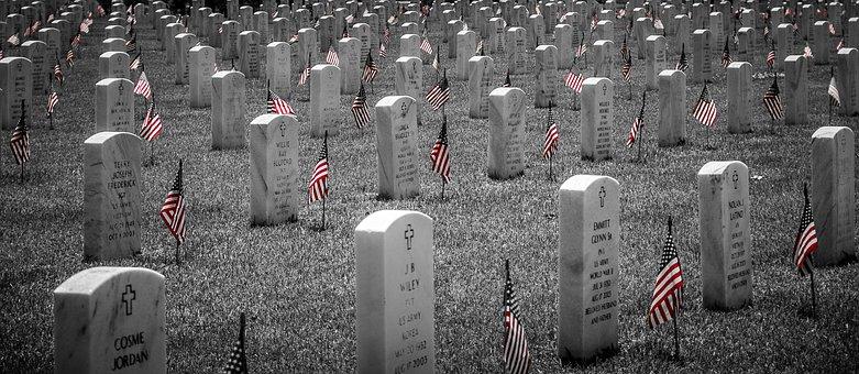 Memorial, Cemetery, Grave, Flag, Heroes