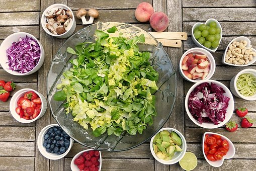 Salad, Fruits, Berries, Healthy
