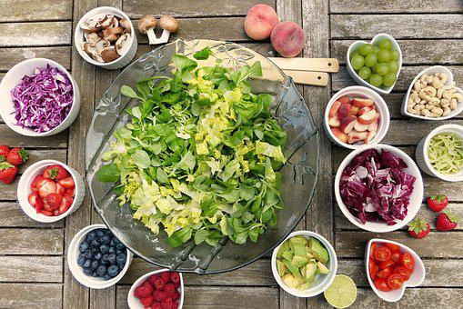 Salad, Fruits, Fruit, Berries, Nuts