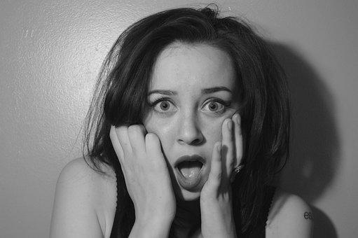 ショック, 女性, 肖像画, 手, ショック, ショック, ショック, ショック