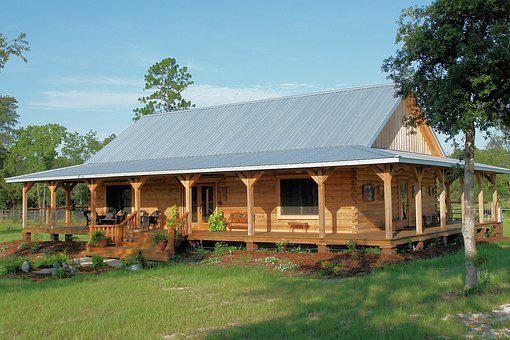 Country, Log Home, Tin Roof, Rural, Home
