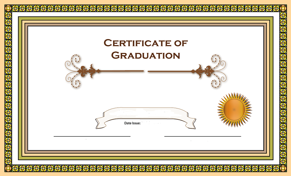 Certificate Graduation Border Stained Glass