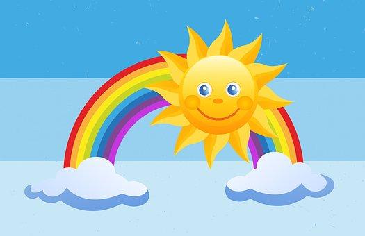 Soleil, Arc En Ciel, Enfants