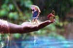 deszcz, dziecko, wypoczynek