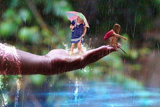 Rain, Child, Leisure, Fishing, Mounting