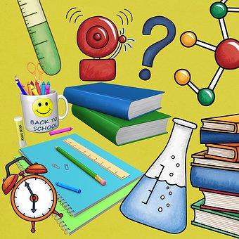 Scuola, Libri, Sfondo, Scrapbook, Blu