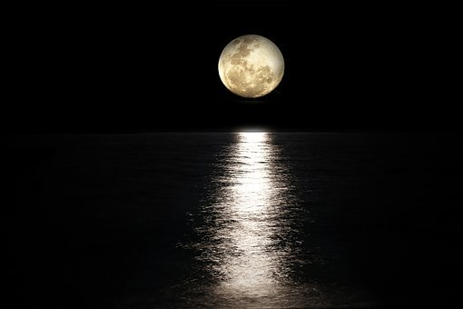 Moon, Sea, Full Moon, Light Reflections