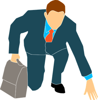 Drawing of businessman ready to move