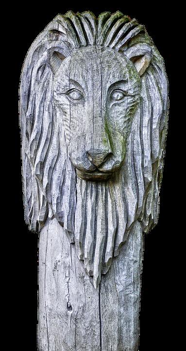 Sculpture, Holzfigur, Lion, Crinière, Des Animaux