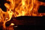 fire, flames, wood