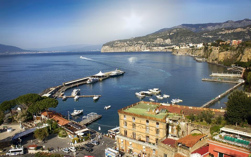 イタリア, ソレント, アマルフィ, 海, ヨーロッパ, 海岸, 旅行, 夏, 休暇, 風景, 地中海の, 市