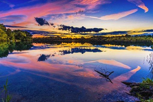 See, Sonnenuntergang, Bayern