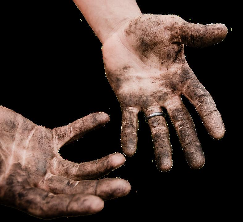 Hände, Schmutzig, Arbeit, Dreck, Schmutz, Freigestellt