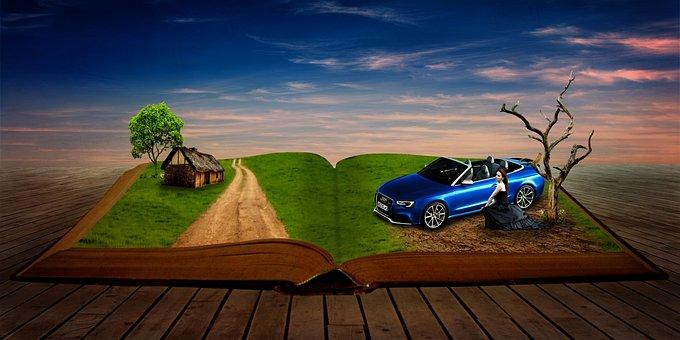 Storybook, Book, Girl, Car, Fantasy