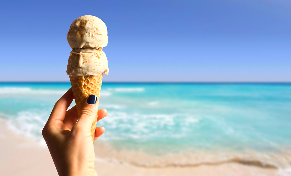 Ice, Summer, Delicious, Ice Cream Cone, Sky, Sea, Beach